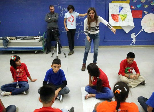 A group of Crosby Elementary School students go through acting drills Nov. 30.