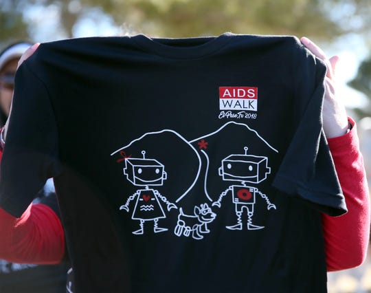 Shown is a commemorative T-shirt for the first Border AIDS Partnership AIDS Walk, which was held Saturday at Memorial Park.