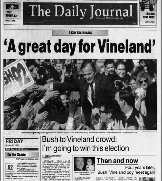 George Bush visits Vineland NJ