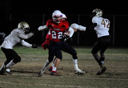 Strathmore Alonso Acevedo breaks away against Adelanto during a CIF SoCal Regional Championship Bowl Game on November 30, 2018 at Strathmore High School.