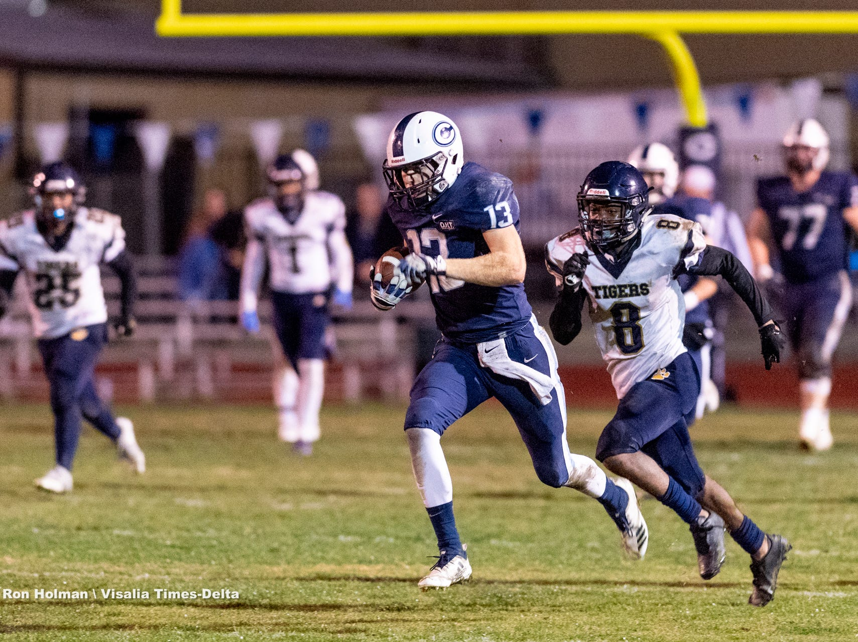 Central Valley Christian's Dustin Van Grouw runs back an interception against Morse in a CIF SoCal Regional Championship Bowl Game on Friday, November 30, 2018.
