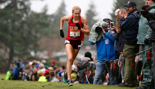 North Rockland's Katelyn Tuohy in action during the Nike Cross Nationals in Portland, Oregon on Saturday, December 1st. Tuohy won the girls race.