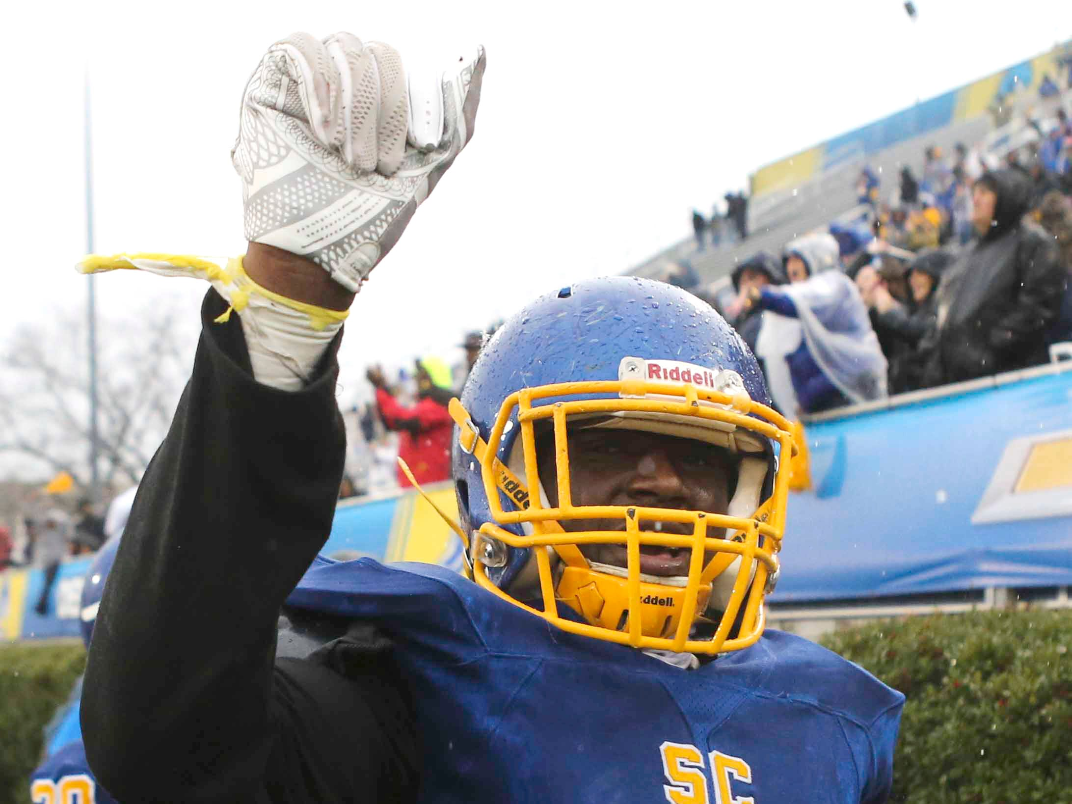 Sussex Central's Elijah Moorer celebrates late in the fourth quarter of the Golden Knights' 33-7 win in the DIAA Division I state tournament championship game at Delaware Stadium Saturday.