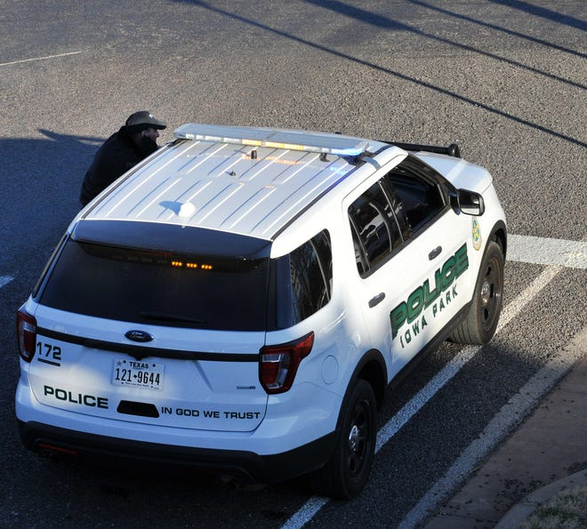 An Iowa Park police vehicle is shown in this Dec. 1, 2018, file photo working an incident in the city.