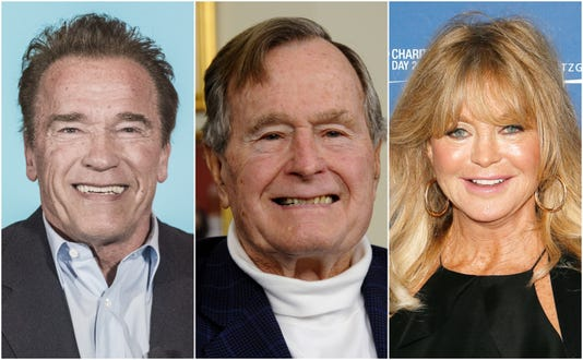 Arnold Schwarzenegger, George H.W. Bush, Goldie Hawn(Photo: Jim Bennett/WireImage, EPA-EFE/LARRY W. SMITH, Paul Morigi/Getty Images)