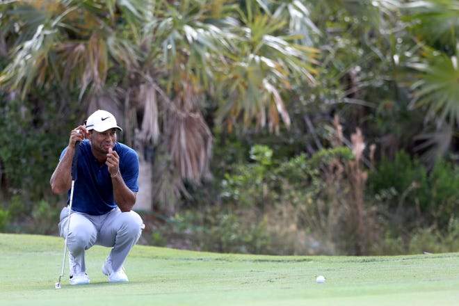 Tiger Woods lines up a putt during round three of the Hero World Challenge at Albany, Bahamas.
