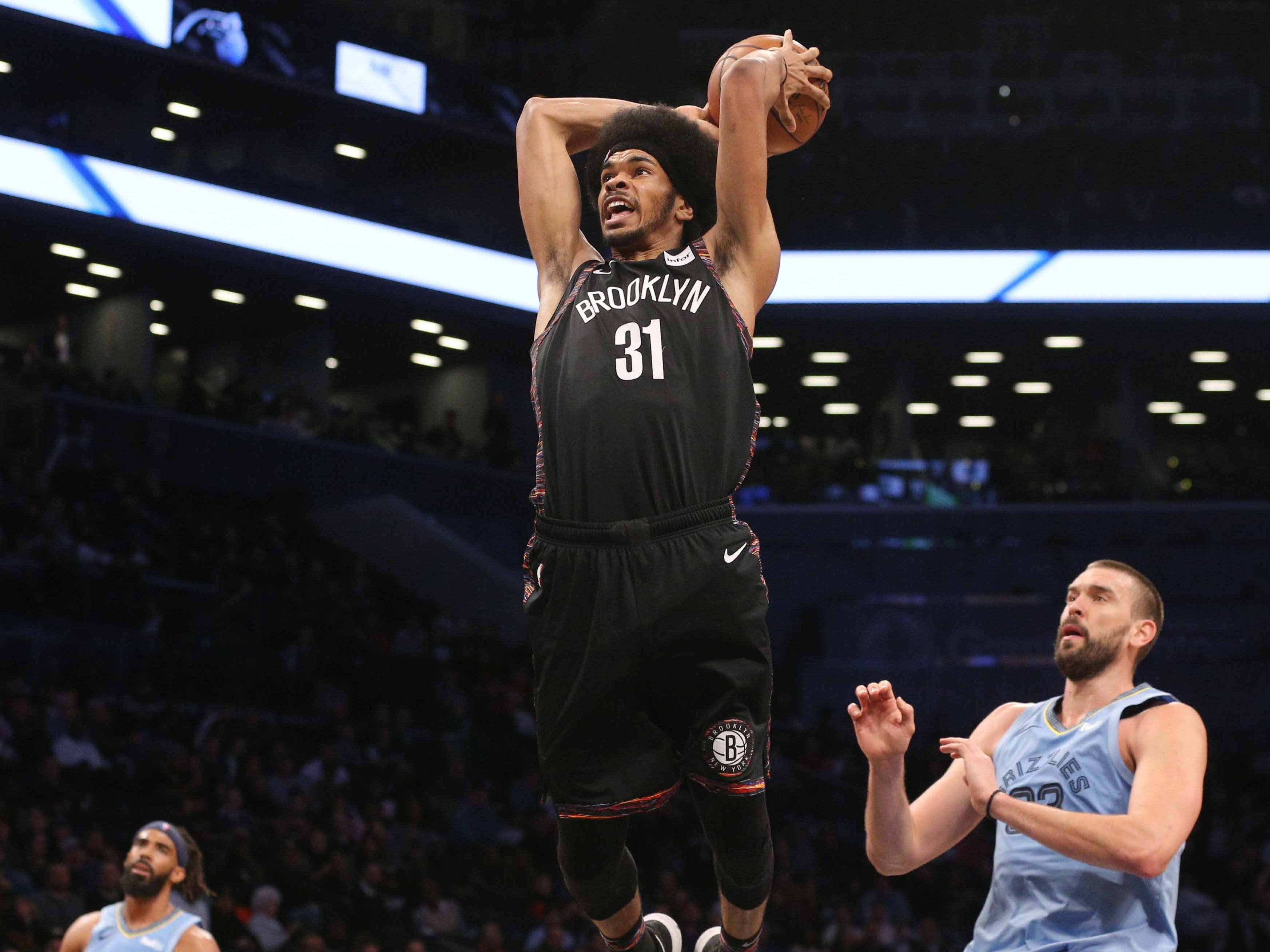 Nov. 30: Nets center Jarrett Allen rises up for a thunderous two-handed flush against the Grizzlies in Brooklyn.