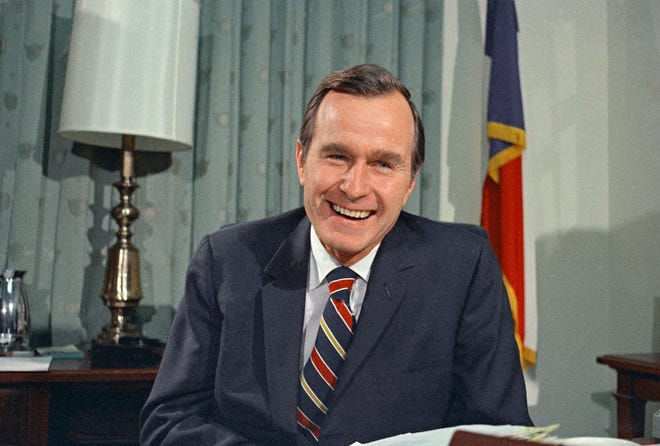 Then-newly appointed United Nations Ambassador George H.W. Bush smiles. Bush has died at age 94. Family spokesman Jim McGrath says Bush died shortly after 10 p.m. Friday, Nov. 30, 2018, about eight months after the death of his wife, Barbara Bush.