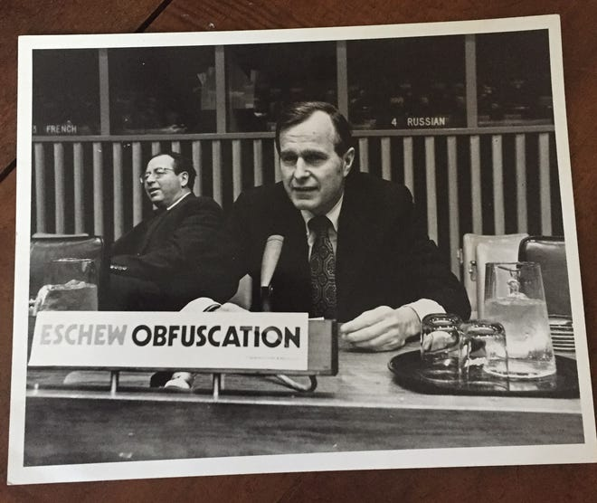 My father, Nicholas King, (left), worked for George H. W,. Bush (right) when the as-yet president was the U.S. ambassador to the United Nations.