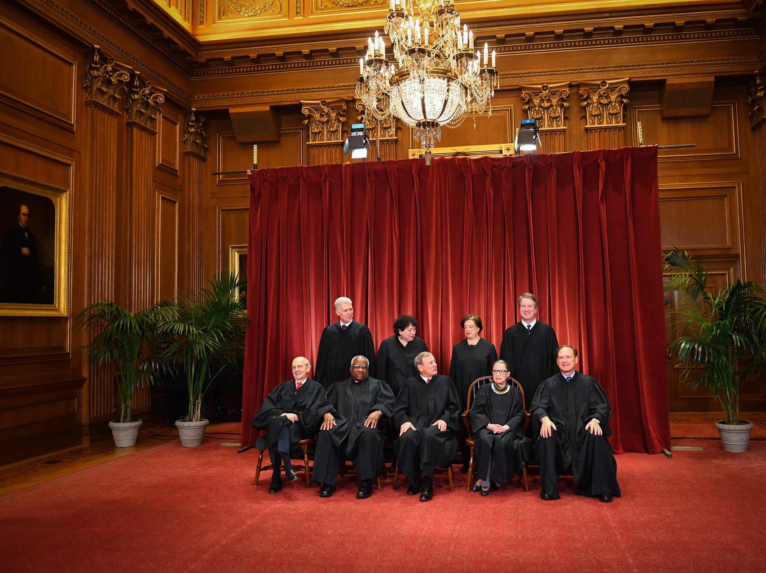Here's the scene setter for the formal portrait session of the 2018 Supreme Court Justices of the United States.  Seated from left: Associate Justice Stephen Breyer, Associate Justice Clarence Thomas, Chief Justice of the United States John G. Roberts, Associate Justice Ruth Bader Ginsburg and Associate Justice Samuel Alito, Jr.  Standing behind from left: Associate Justice Neil Gorsuch, Associate Justice Sonia Sotomayor, Associate Justice Elena Kagan and Associate Justice Brett M. Kavanaugh.