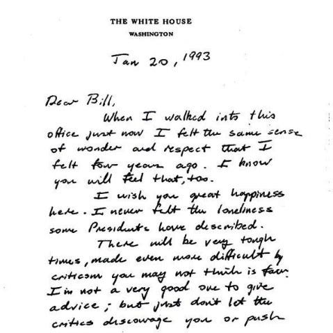 This image provided by the George H.W. Bush Presidential Library and Museum shows a note written by George H.W. Bush to Bill Clinton.