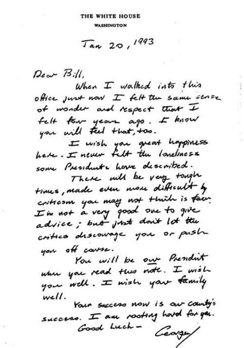 Bush letter to Clinton: Read George H.W Bush's humble, gracious letter