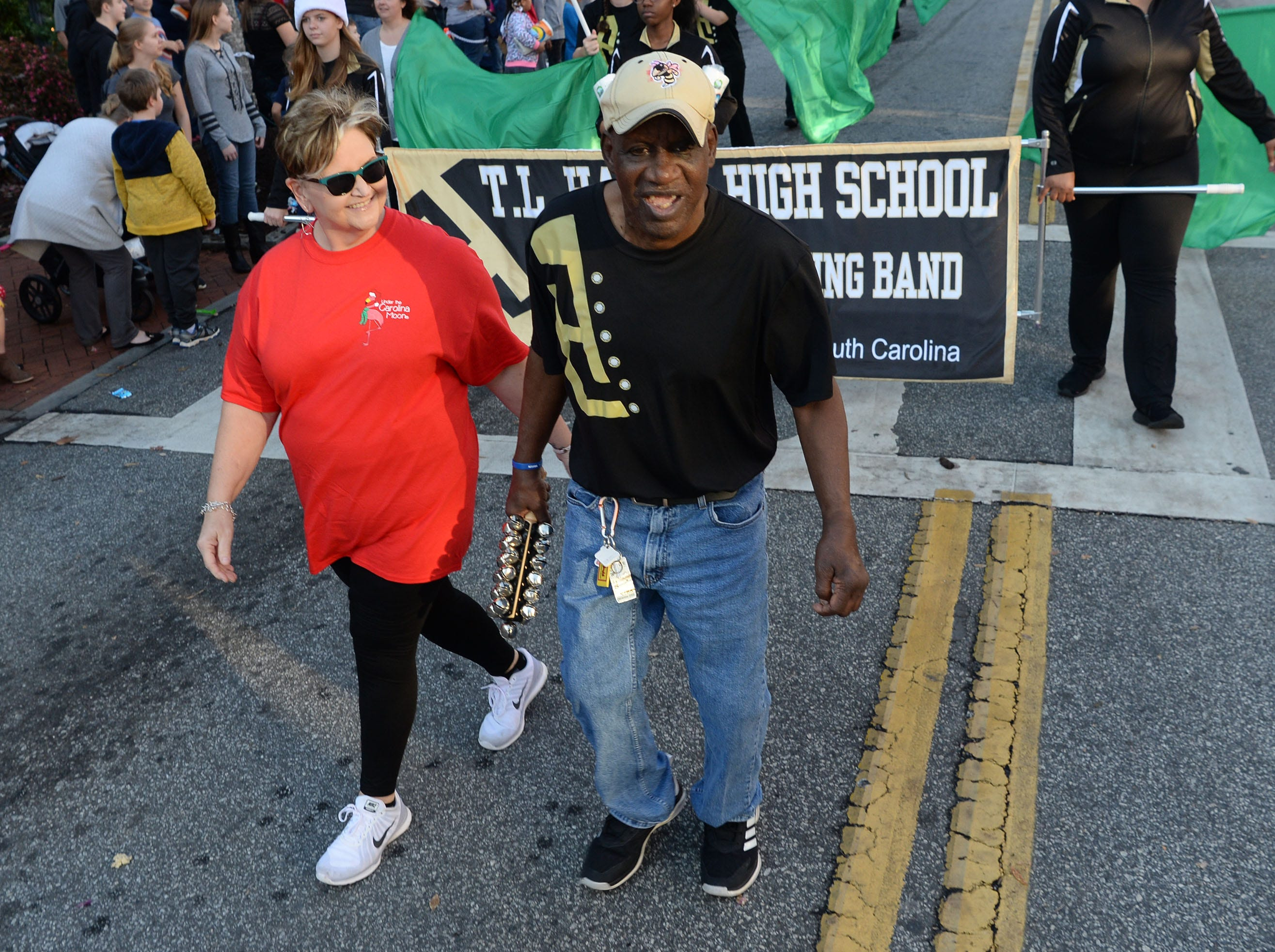 James Radio Kennedy with the TL Hanna High marching band during the City of Anderson Christmas Parade through downtown Sunday, December 2, 2018.