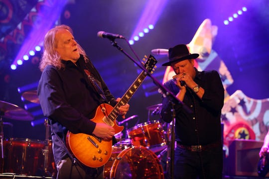 Warren Haynes of Gov't Mule and Danny Clinch of Tangiers Blues Band perform together during an encore as GovÕt Mule closes out the Asbury Park Music + Film Festival with a show at Paramount Theatre in Asbury Park, NJ. April 29, 2018. Tangiers Blues Band opens the show.