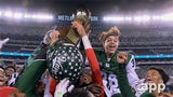 Long Branch celebrates after defeating Shawnee to win the first ever NJSIAA Group IIII Central-South Jersey Bowl game played at MetLife Stadium.