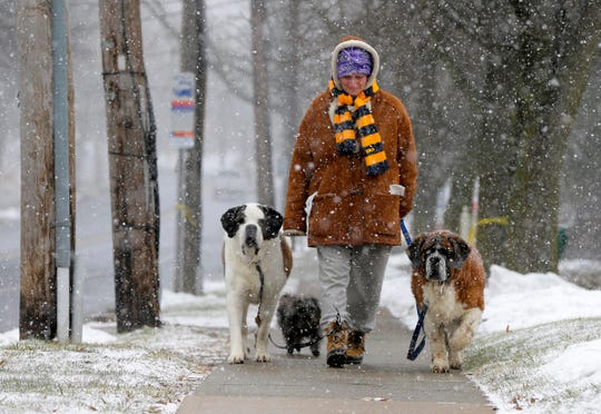 Kate McCabe of Chatham walks her dogs Bee, McDuff and Nana in the snow along Main Street in Chatham, NJ Wednesday March 21, 2018. The two St. Bernards and yorkipoo were all rescued from a shelter.