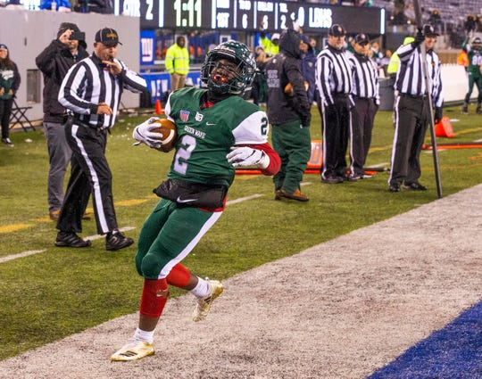 Jermaine Corbett  scores Long Branch's first touchdown.Shawnee vs Long Branch in NJSIAA South Group IV Bowl Game in East Rutherford on November 30, 2018.