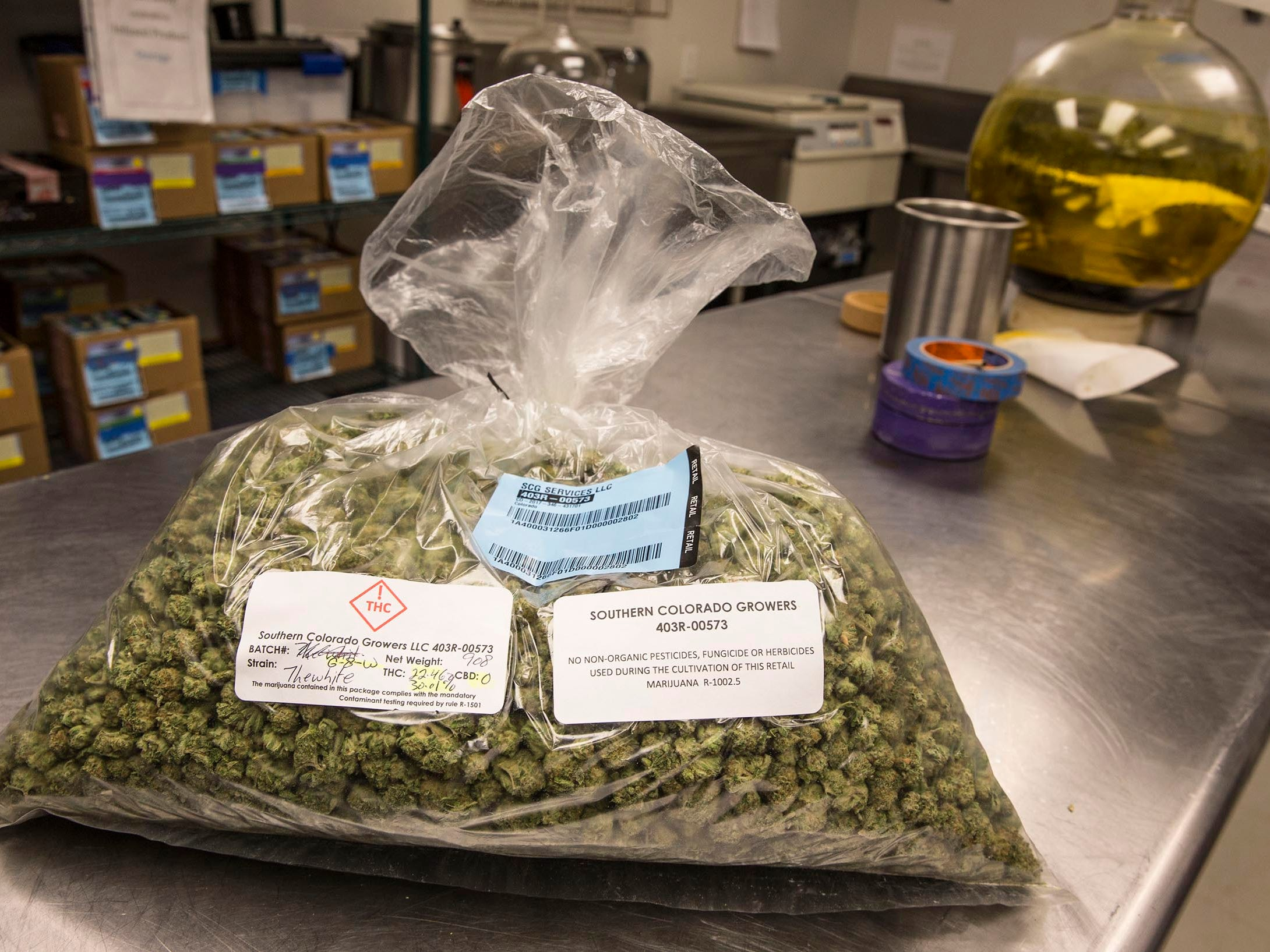 Mesa Organics offers various forms of cannabis including flower, concentrates, edibles, and topicals. They specialize in extraction to create various forms cannabis for consumption. Three pound bag of 'the white' strain.  Pueblo, CO on Wednesday, April 11, 2018