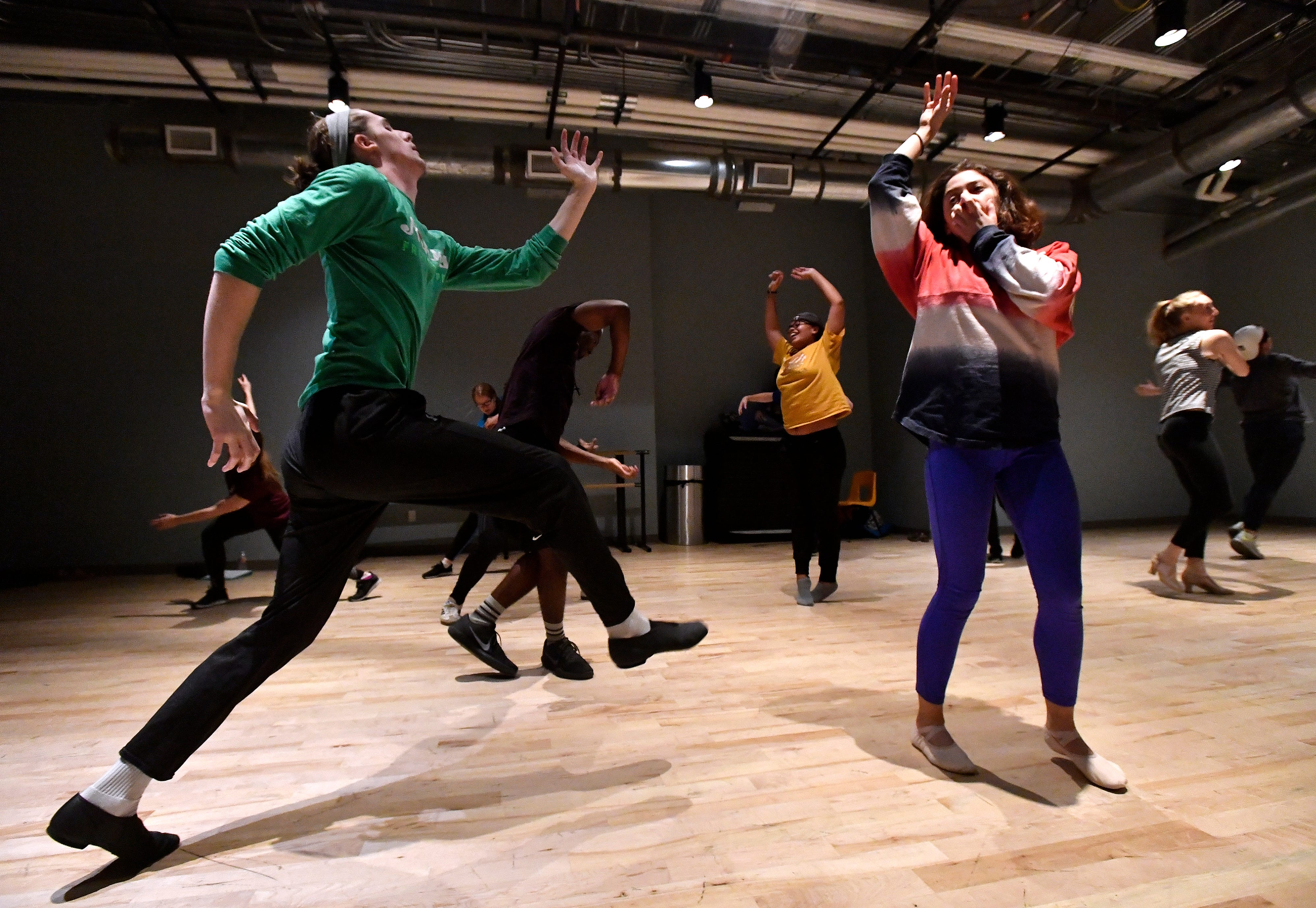 """At Abilene Christian University, Corban Gililland (left) and Sierra Cowell (right) rehearse with other student dancers Saturday Dec. 1, 2018 for their show """"One Night Only"""" to be performed Saturday Dec. 8 in the Fulks Theater. This will be the first performance of the new Dance track at ACU."""