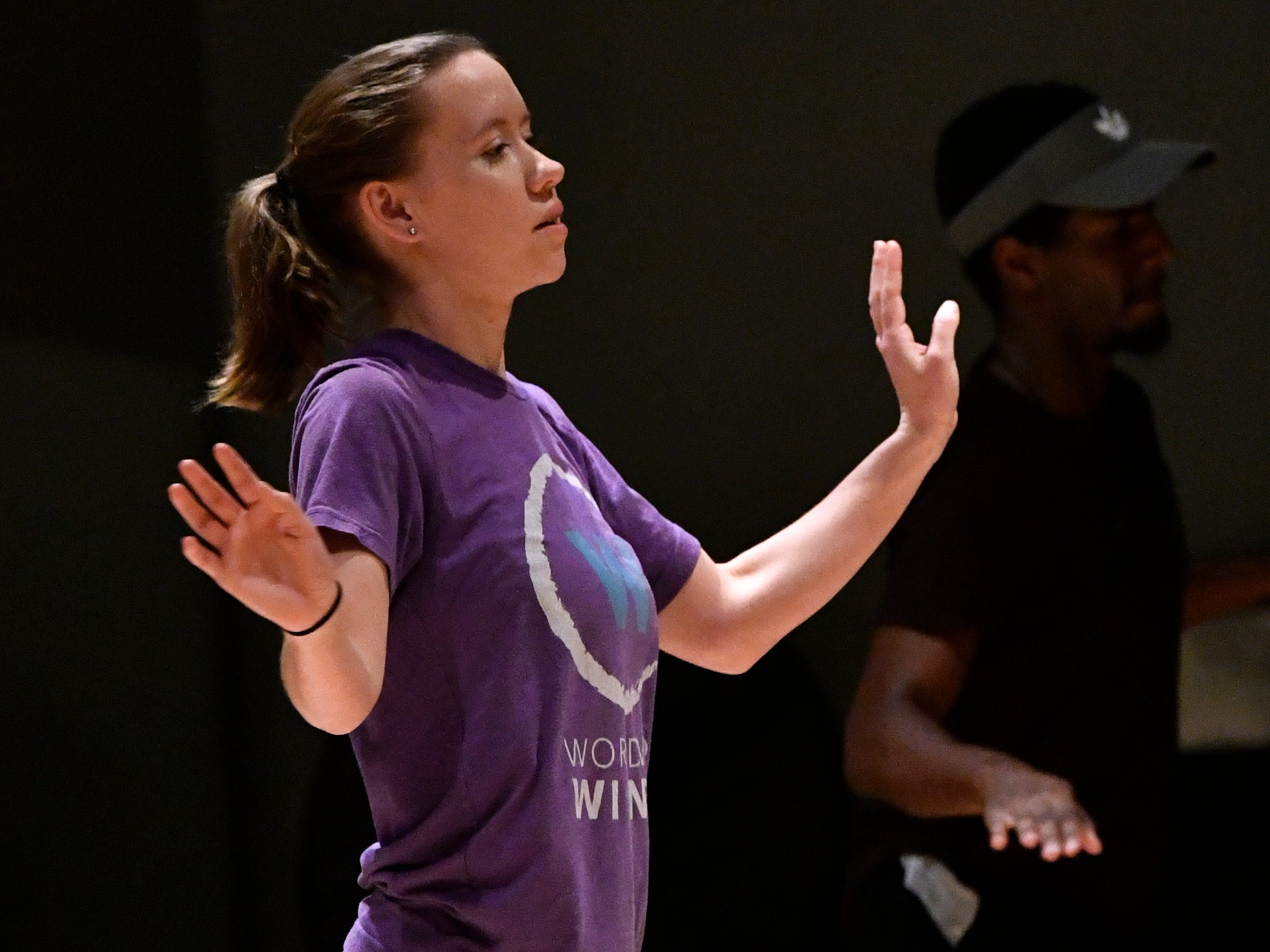 "Carly Carroll taps during rehearsal Saturday Dec. 1, 2018 at Abilene Christian University. The new Dance track at ACU will hold its first solo performance Saturday Dec. 8, called ""One Night Only."""
