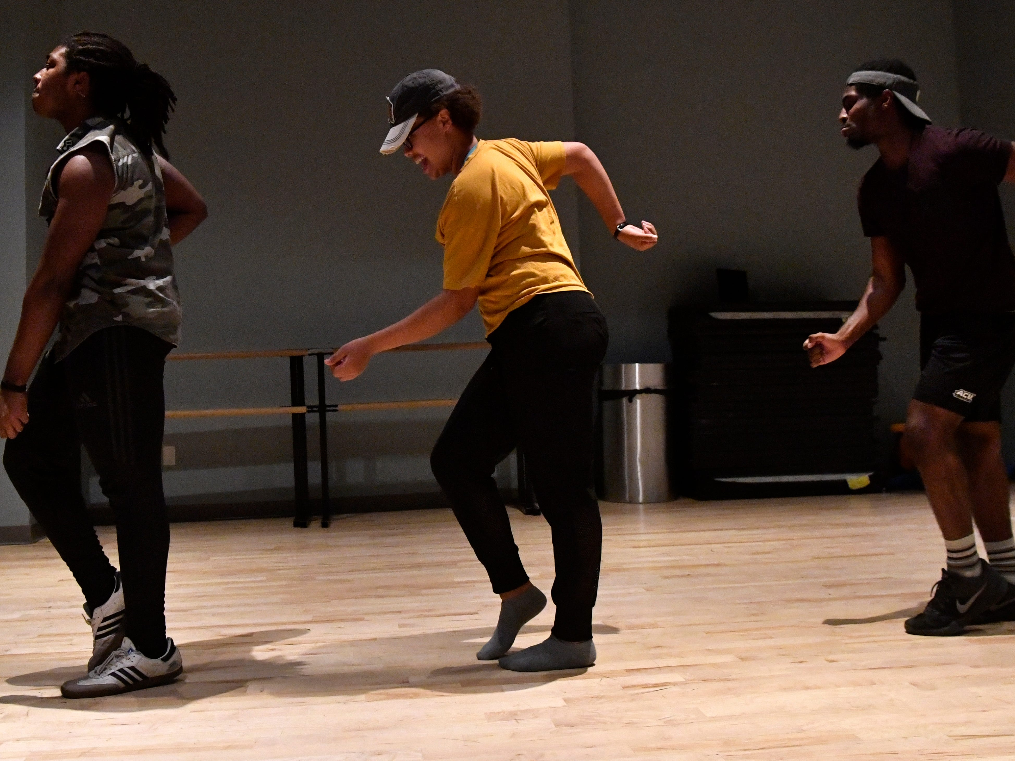 "L.J. Brodie, Rachel Rosser and Jeremiah Taylor rehearse Saturday Dec. 1, 2018 in the Williams Performing Arts Center at Abilene Christian University. The new ACU Dance track will have its first show Saturday Dec. 8, called ""One Night Only."""