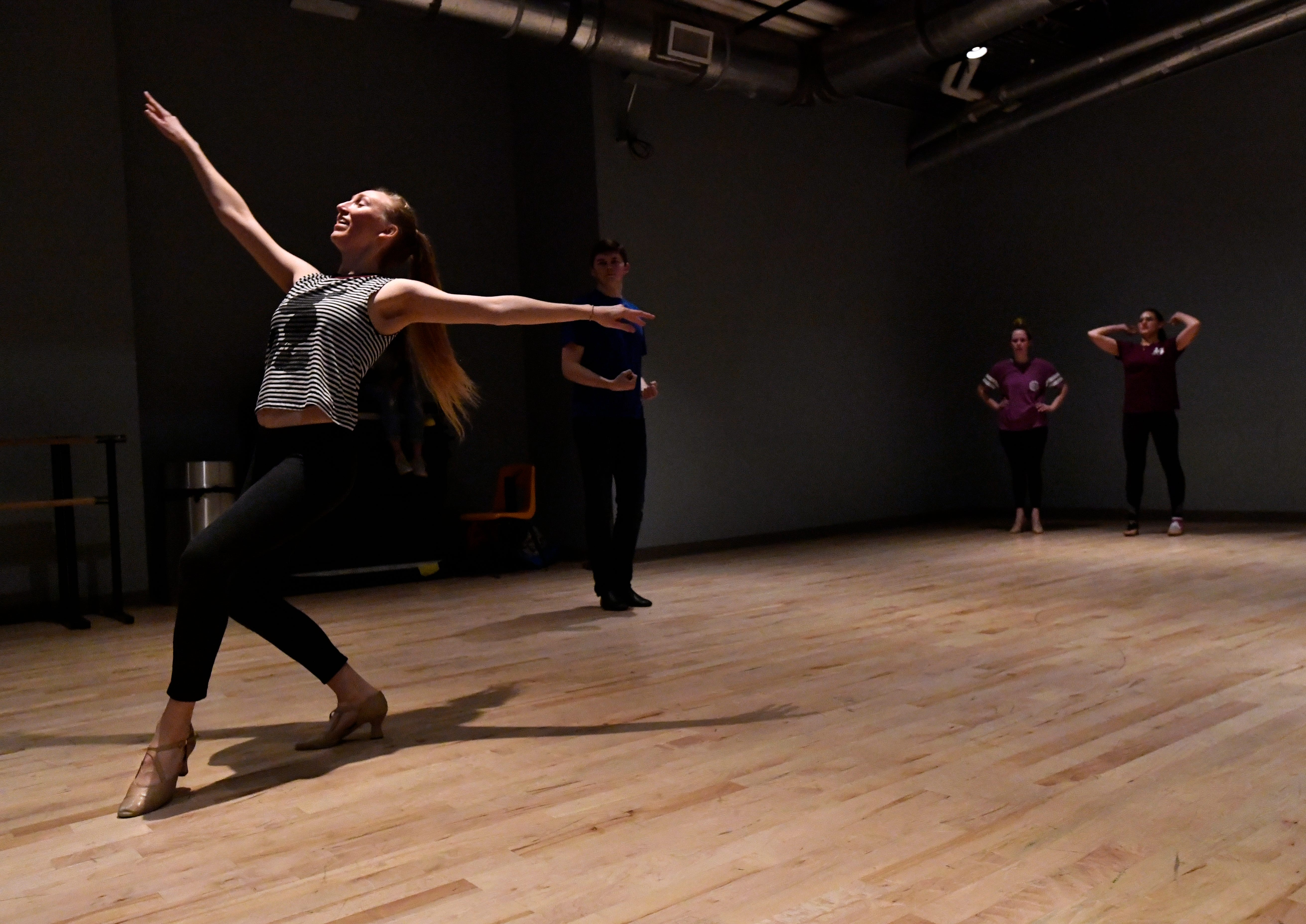 """Jill Jackson rehearses with other dancers Dec. 1 for """"One Night Only"""", the first solo performance of the Abilene Christian University dance track on Saturday."""