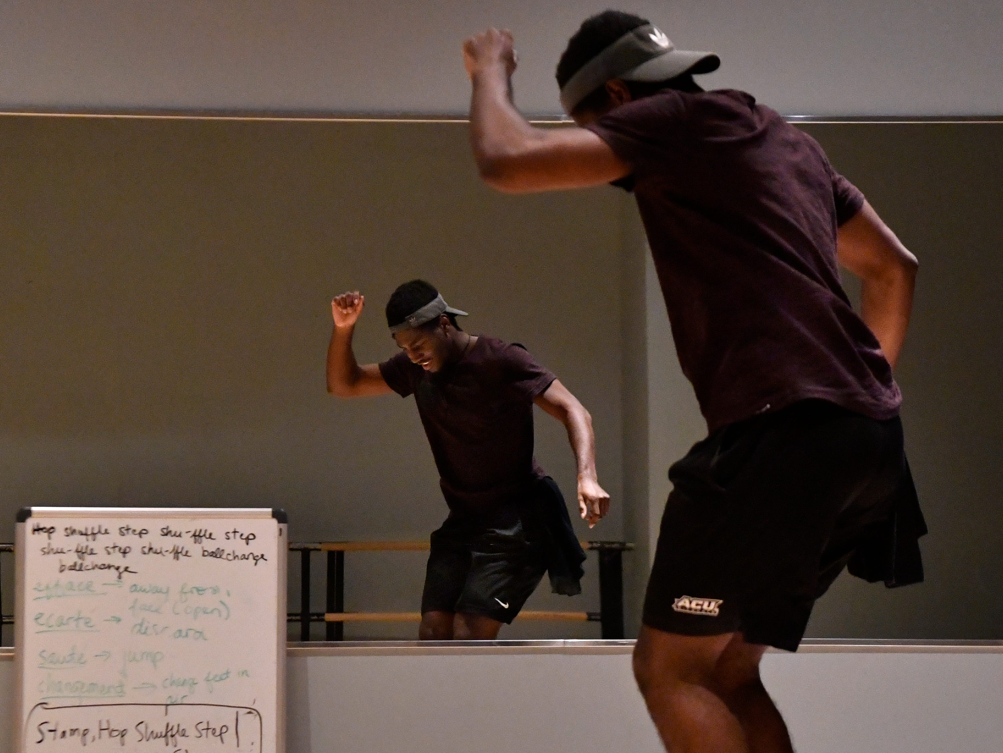 "Rehearsing for ""One Night Only,"" the first show performed by the new Dance track at Abilene Christian University, Jeremiah Taylor taps in front of a mirror Saturday Dec. 1, 2018 in the Williams Performing Arts Center at ACU. The show will be Saturday Dec. 8."