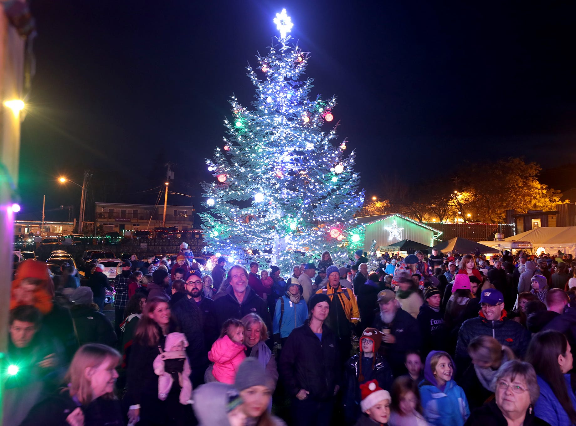 The Kingston Cove Christmas celebration on Saturday, December 1, 2018, at Mike Wallace Park in Kingston.The highlight of the event was the arrival of Santa and the Christmas tree, and park lighting. Tree is turned on in front of a large crowd at Mike Wallace park in Kingston.