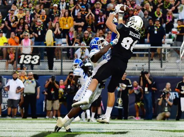 Jake Hescock #88 of the UCF Knights catches a touchdown pass over Curtis Akins #7 of the Memphis Tigers during the second quarter of the American Athletic Championship at Spectrum Stadium on December 01, 2018 in Orlando, Florida. (Photo by Julio Aguilar/Getty Images)