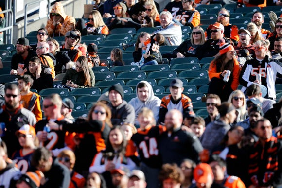 Seats remain empty in the lower bowl during the second quarter of the NFL Week 13 game between the Cincinnati Bengals and the Denver Broncos at Paul Brown Stadium in downtown Cincinnati on Sunday, Dec. 2, 2018. The Broncos led 7-3 at halftime.
