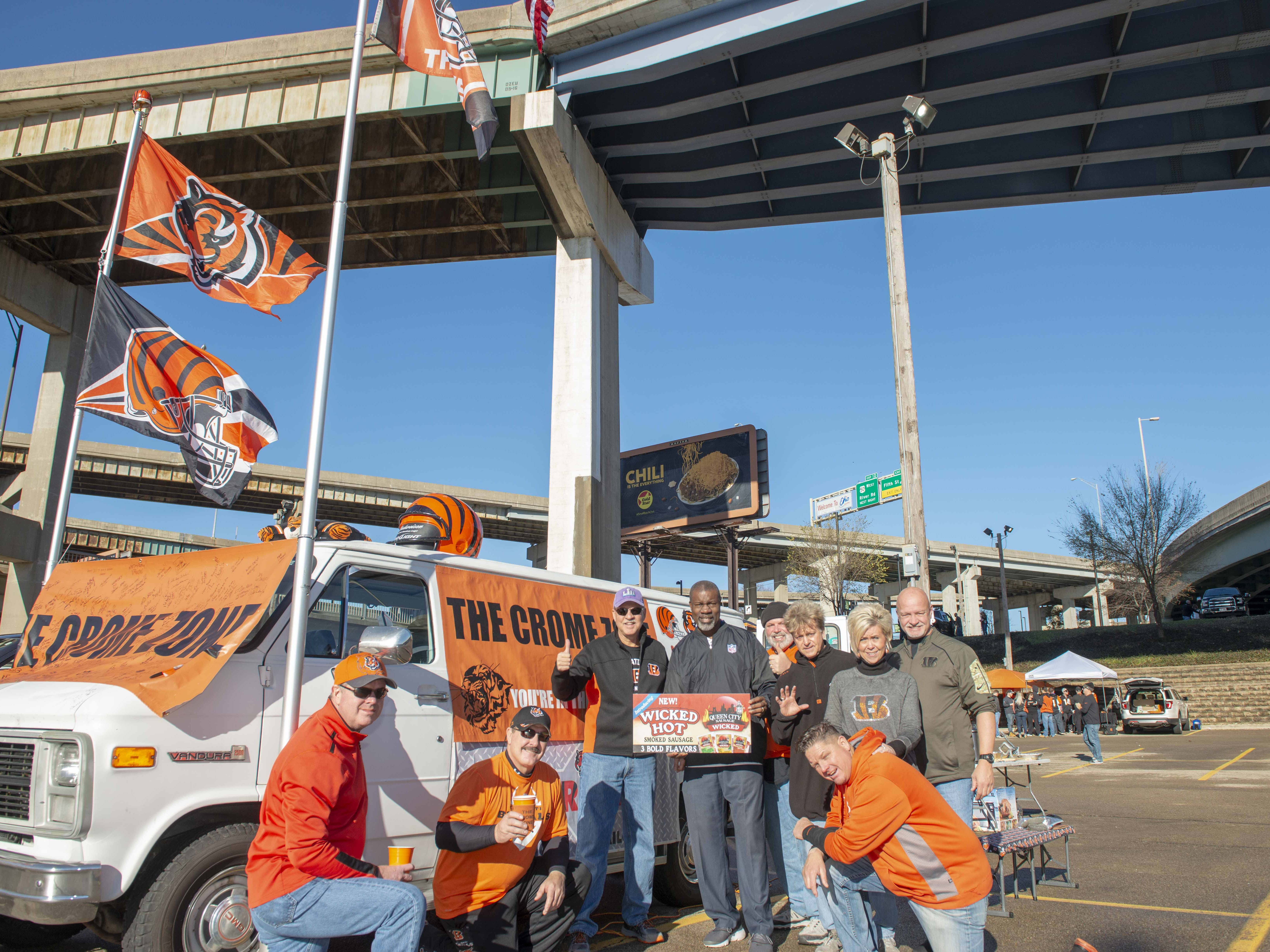 Cincinnati Bengals fans showed up for tailgating parties as the Cincinnati Bengals hosted the Denver Broncos at Paul Brown Stadium Sunday, December 2, 2018. The Crome Zone with former Bengal David Fulcher.
