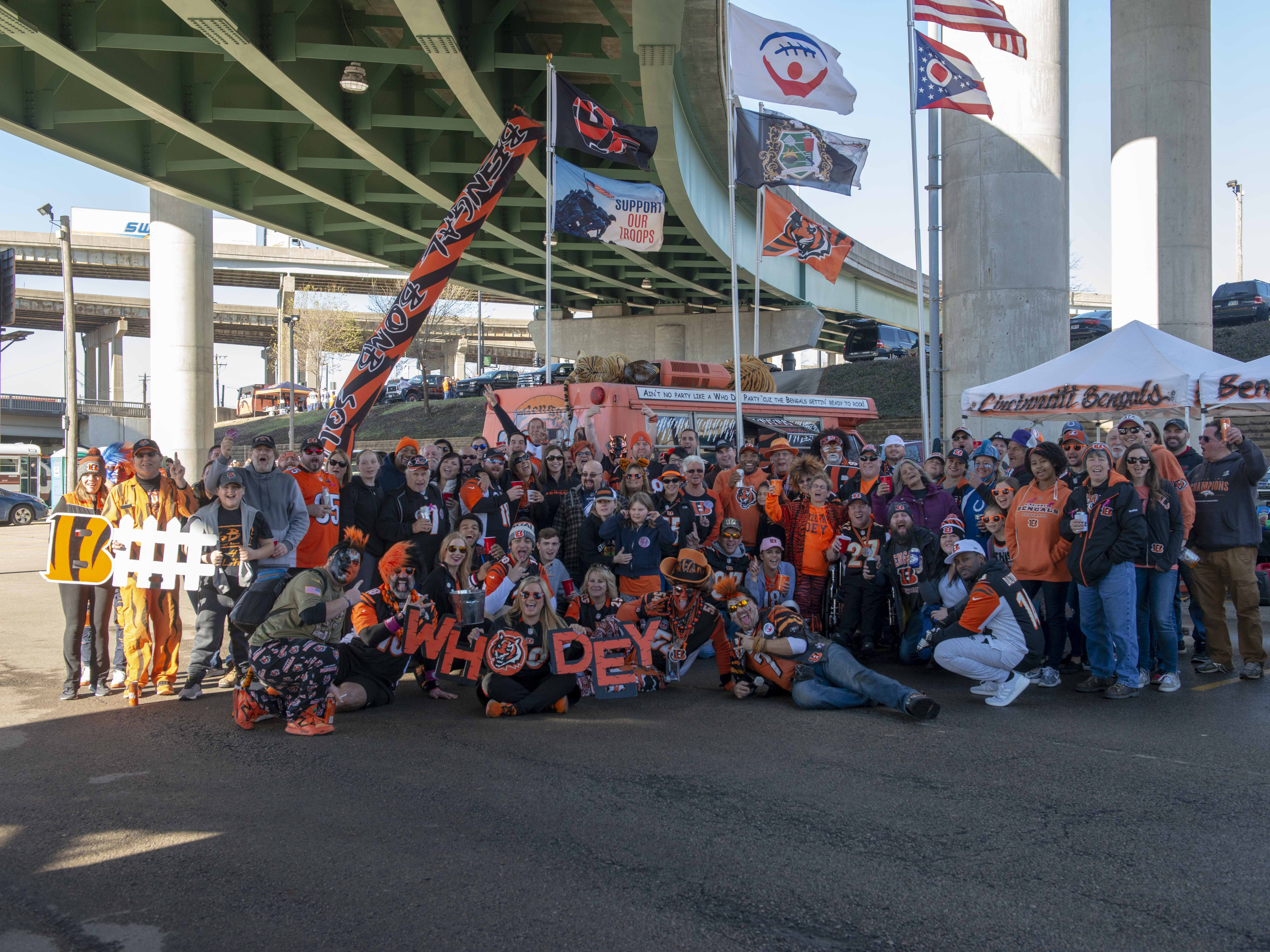 Cincinnati Bengals fans showed up for tailgating parties as the Cincinnati Bengals hosted the Denver Broncos at Paul Brown Stadium Sunday, December 2, 2018. The famous Bengal Bomb Squad.