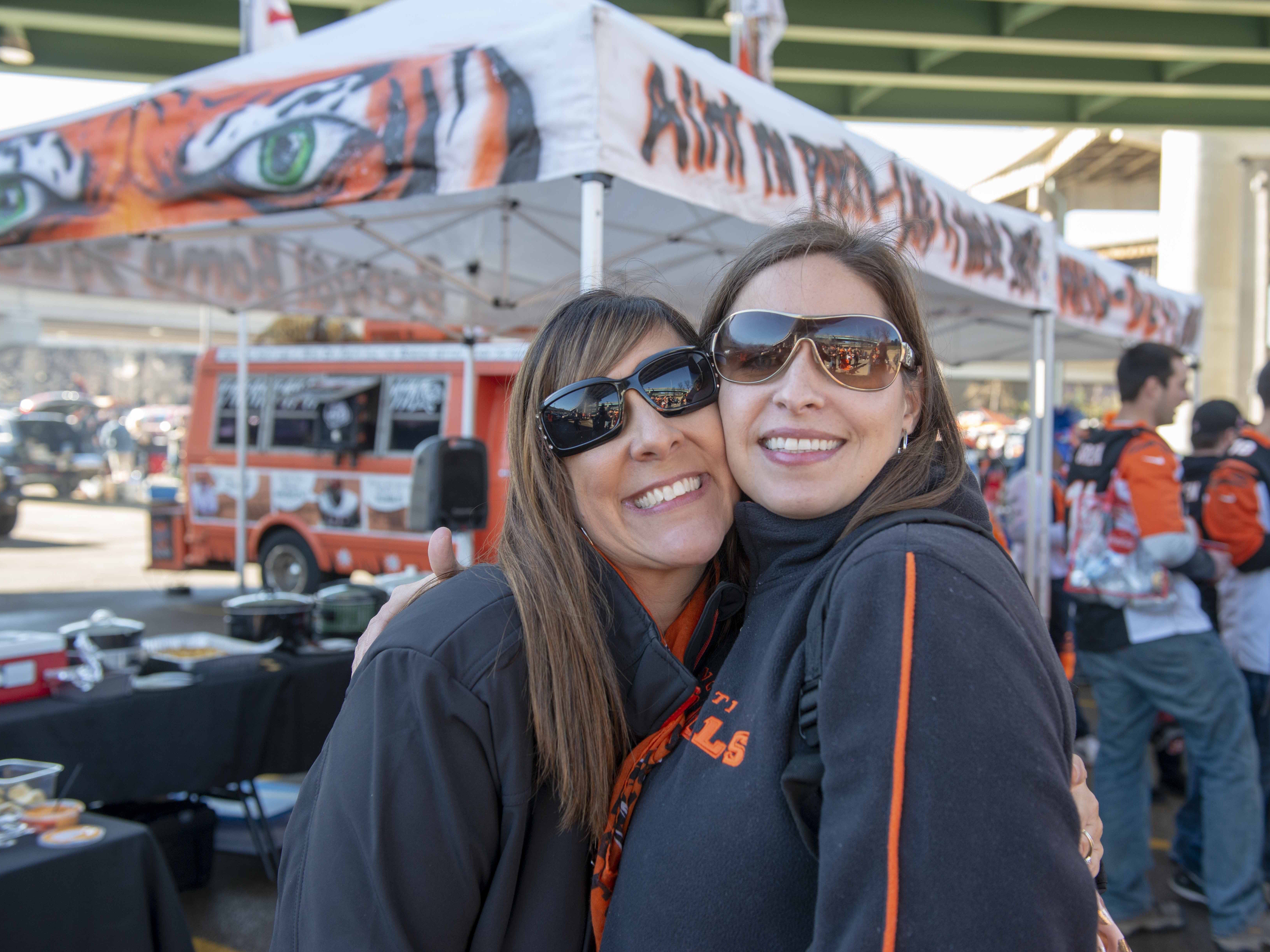 Cincinnati Bengals fans showed up for tailgating parties as the Cincinnati Bengals hosted the Denver Broncos at Paul Brown Stadium Sunday, December 2, 2018. Heather Hunt and Veronica Ledford both from Georgetown, Kentucky.