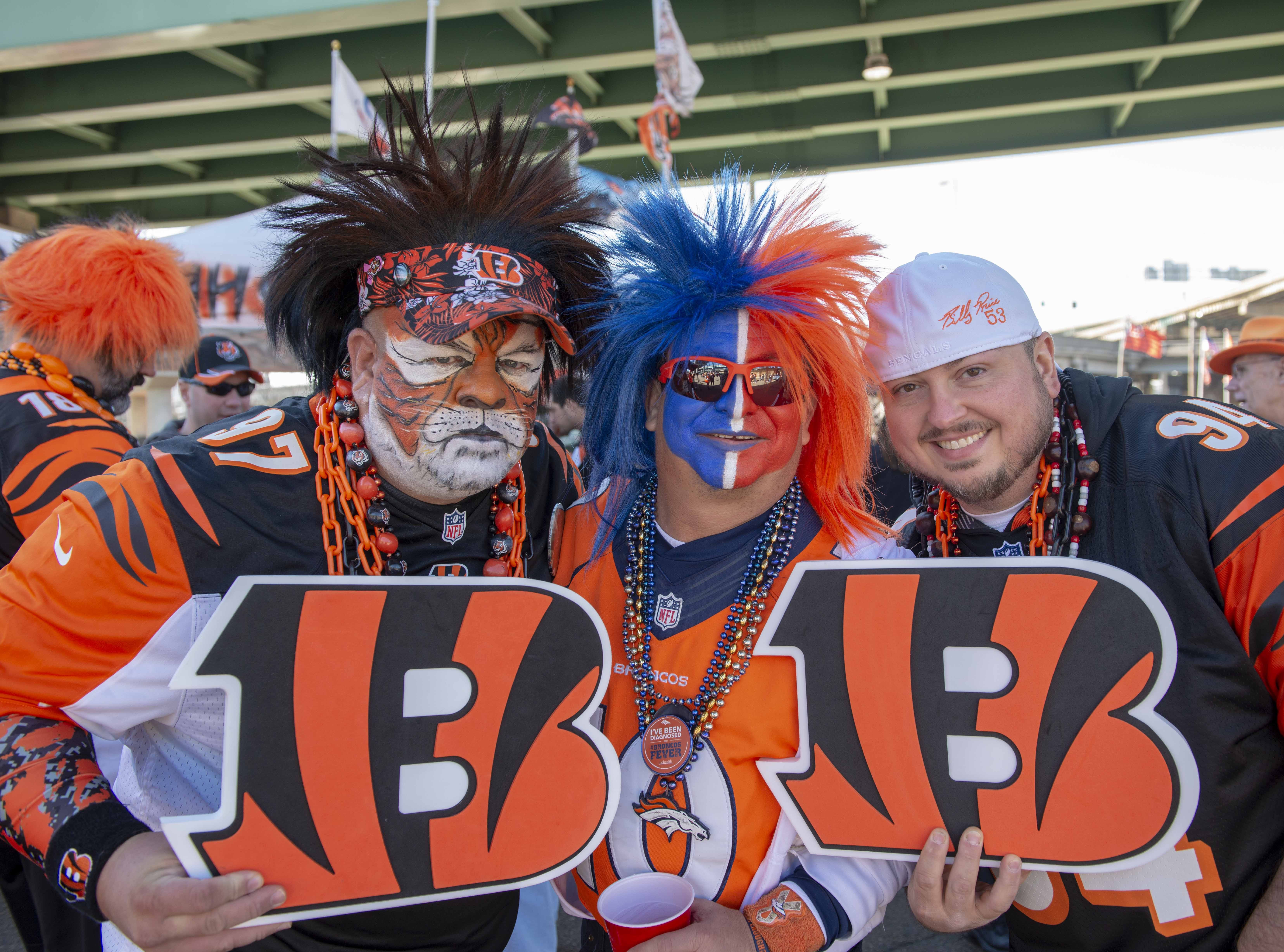 Cincinnati Bengals fans showed up for tailgating parties as the Cincinnati Bengals hosted the Denver Broncos at Paul Brown Stadium Sunday, December 2, 2018. Tony the Tiger, Ken Castaneda and Brad Sheets.