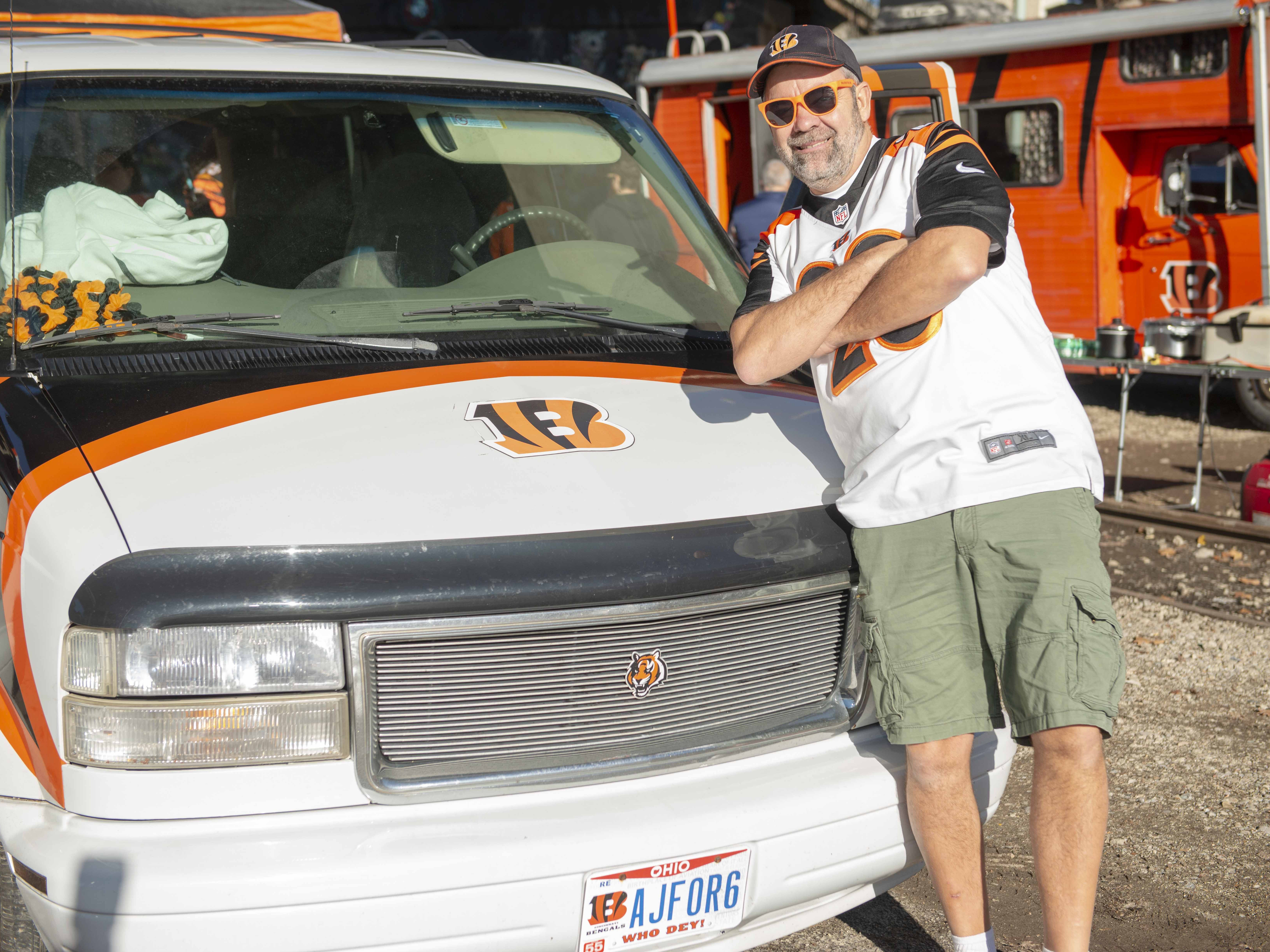 Cincinnati Bengals fans showed up for tailgating parties as the Cincinnati Bengals hosted the Denver Broncos at Paul Brown Stadium Sunday, December 2, 2018. Ron Patton of Cass Town, Ohio, with the custom Bengal paint job on his van.