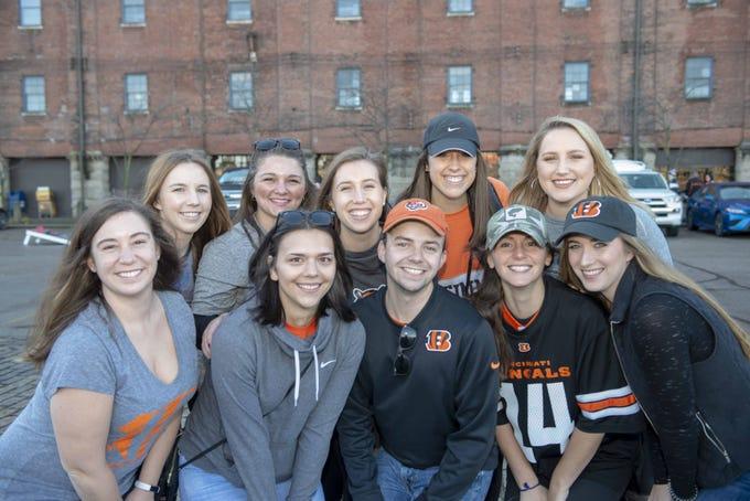 Cincinnati Bengals fans showed up for tailgating parties as the Cincinnati Bengals hosted the Denver Broncos at Paul Brown Stadium Sunday, December 2, 2018. Maureen, Caitlin, Max, Jane, Olivia, Ellen, Karli, Kate, Ellen and Alex.