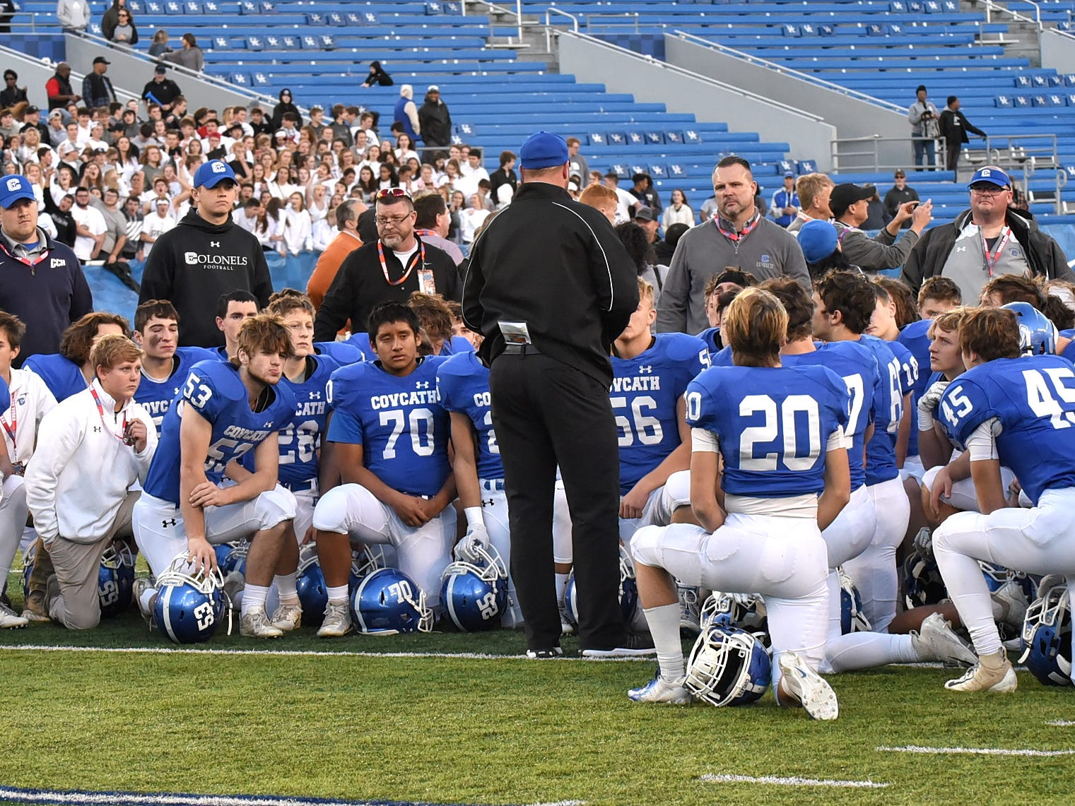The Covington Catholic Colonels huddle as a team one last time closing out the 2018 campign 14-1 and KHSAA 5a State Runners up, December 2, 2018.