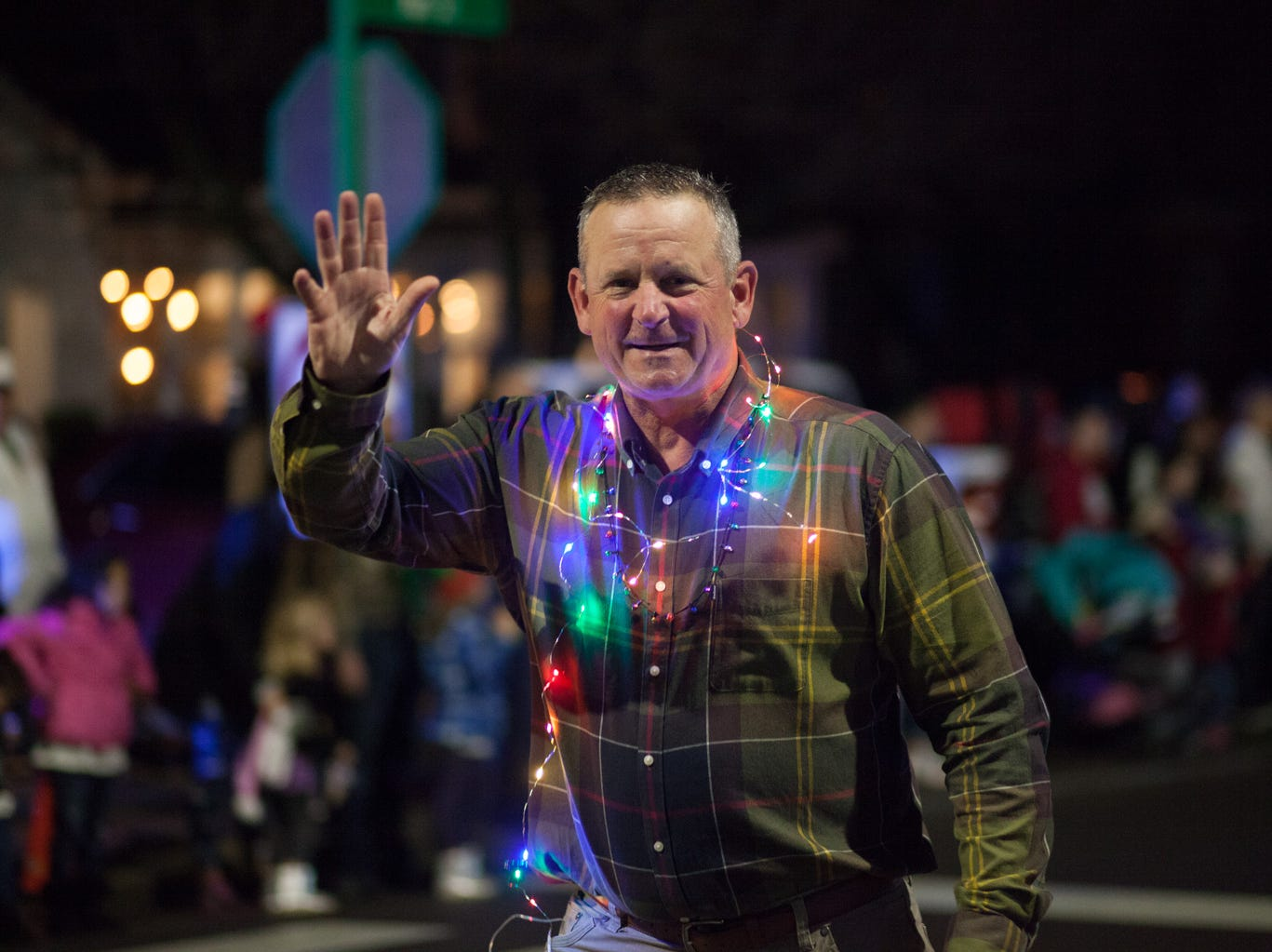 Montgomery County Mayor Jim Durrett walks in the Christmas Parade on Saturday, Dec. 1, 2018, in Clarksville, Tenn.