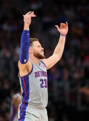 Detroit Pistons forward Blake Griffin celebrates after a basket against the Golden State Warriors during the fourth quarter Saturday, Dec. 1, 2018 at Little Caesars Arena in Detroit.