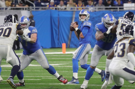 Detroit Lions quarterback Matthew Stafford looks to pass against the Los Angeles Rams during the second half on Sunday, December 2, 2018 at Ford Field in Detroit.