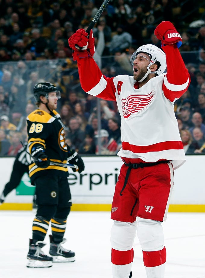 Detroit Red Wings' Frans Nielsen celebrates his go-ahead goal during the third period of a 4-2 Detroit victory over the Boston Bruins in Boston, Saturday, Dec. 1, 2018.