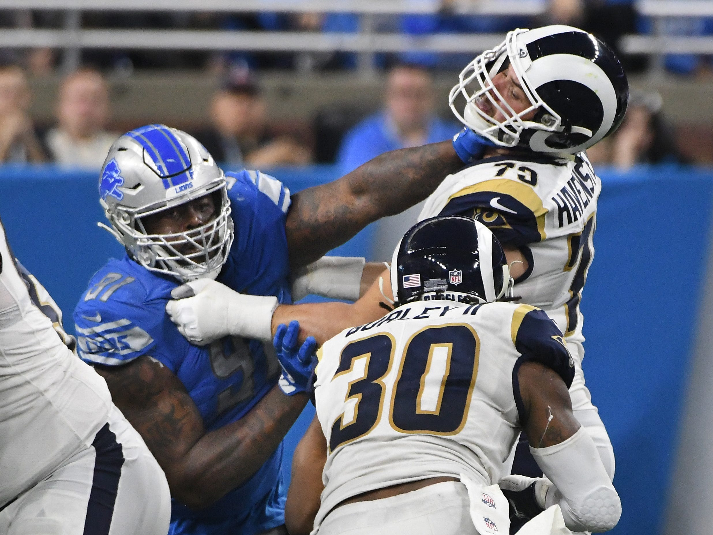 Lions A'Shawn Robinson works on Rams' Rob Havenstein in the third quarter.