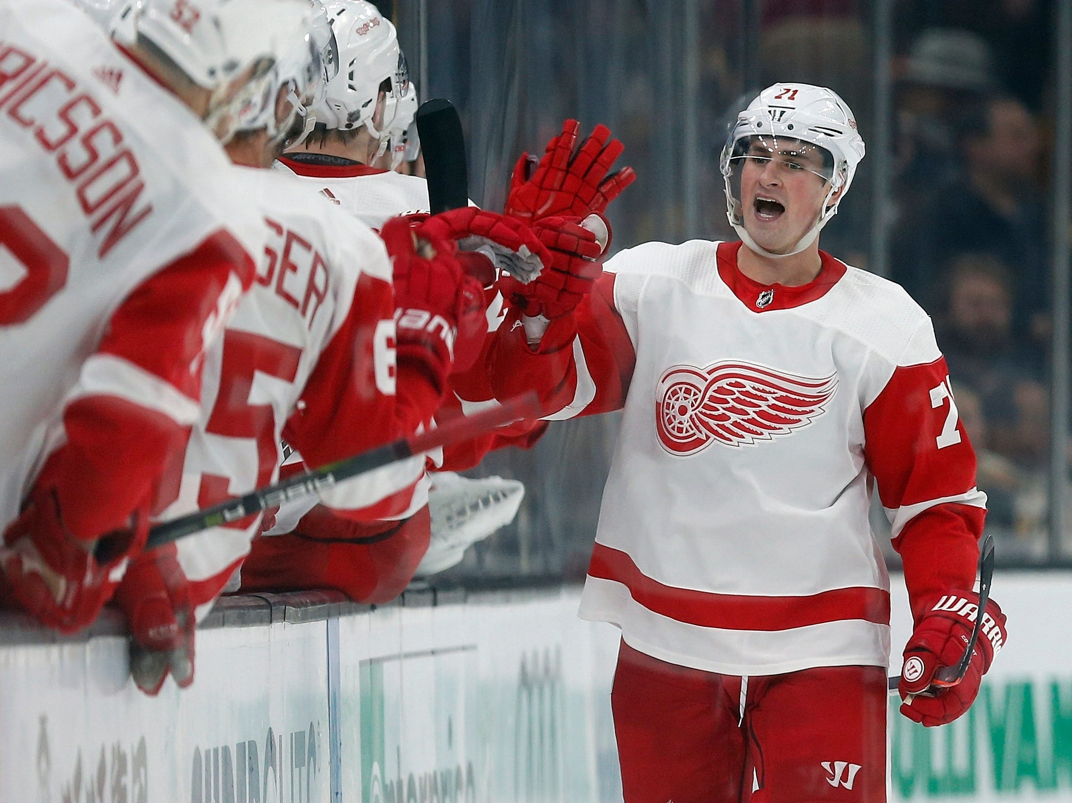 Detroit Red Wings' Dylan Larkin (71) celebrates his goal during the second period.