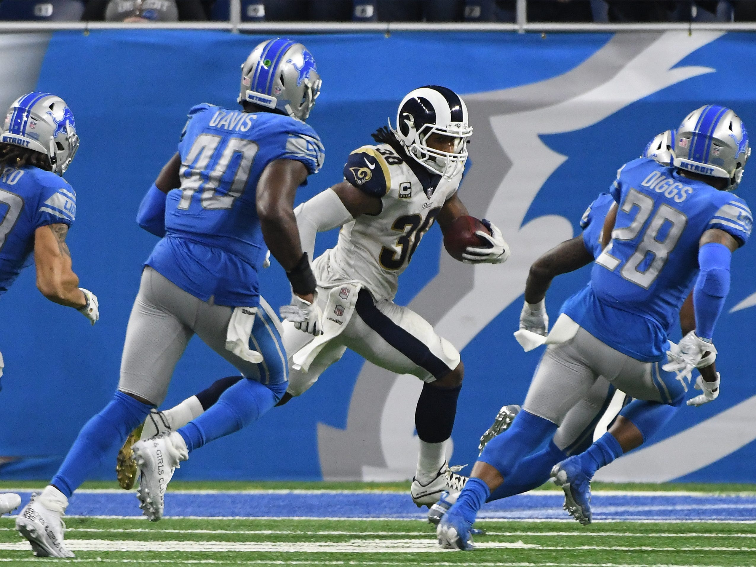 Instead of running into the end zone, Rams running back Todd Gurley II runs along the goal line, burning off time on the clock, late in the fourth quarter.  Gurley and the Rams scored on a following play.