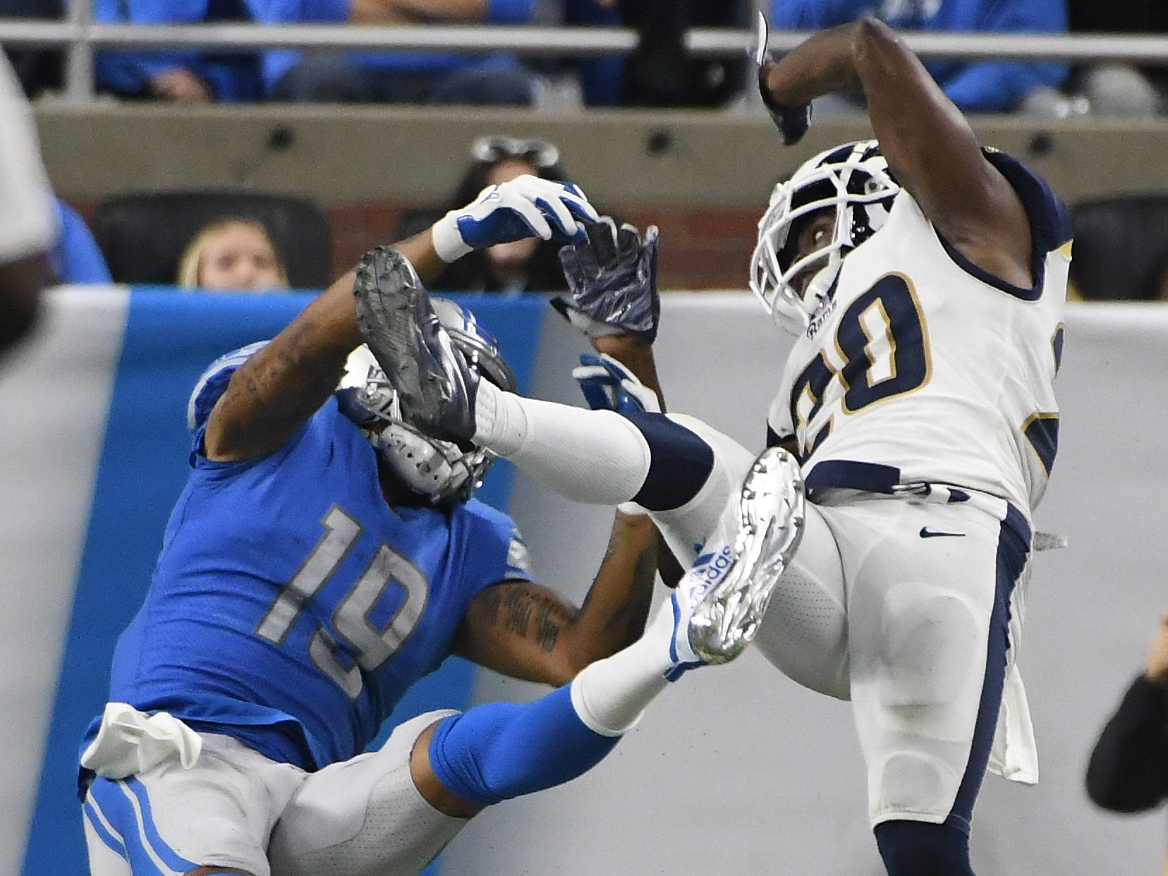 The Rams' Marcus Peters is called for pass interference on a pass intended for the Lions' Kenny Golladay in the fourth quarter.