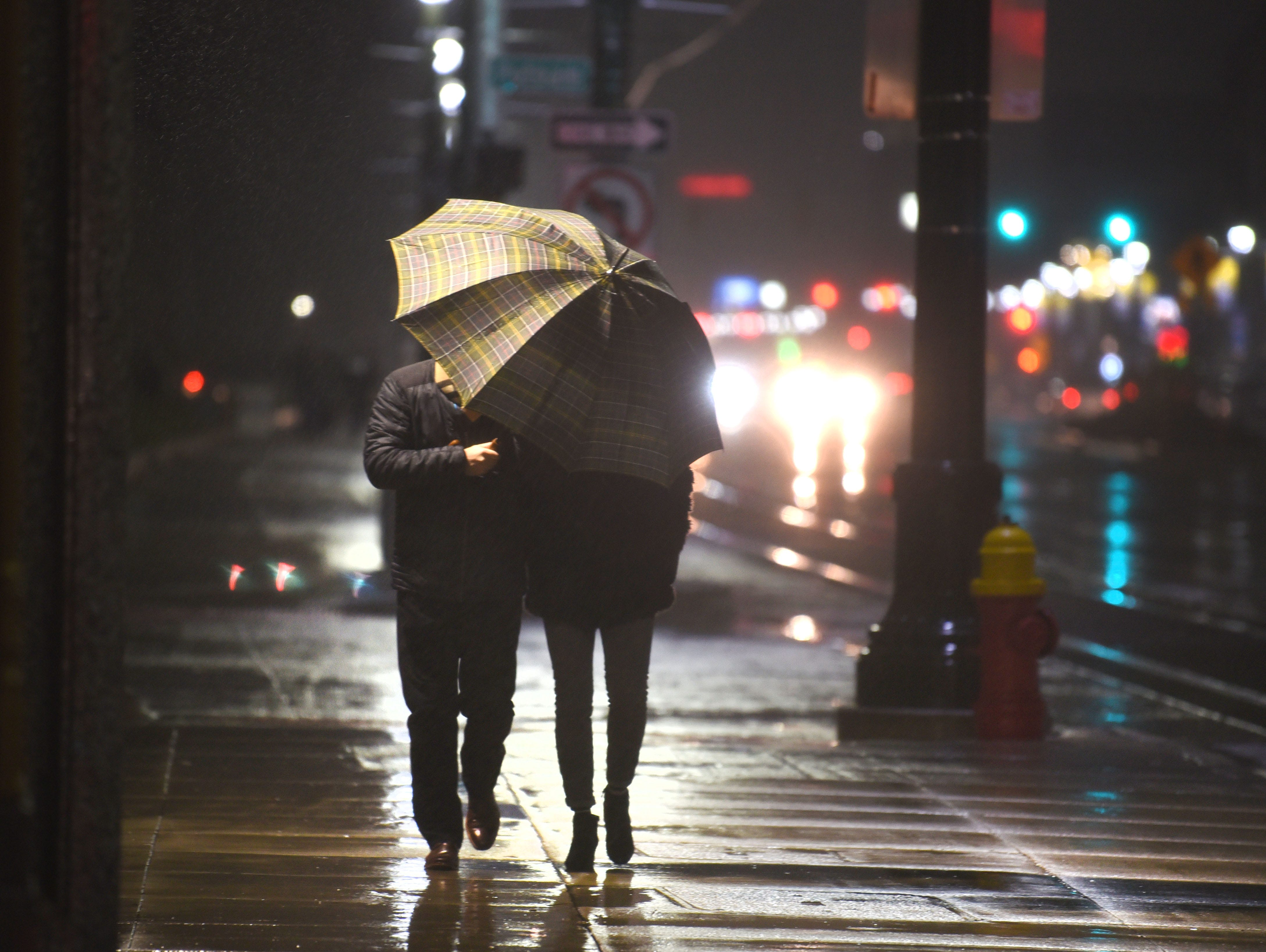People use umbrellas as they brave the cold and rain along Woodward Avenue for Noel Night.
