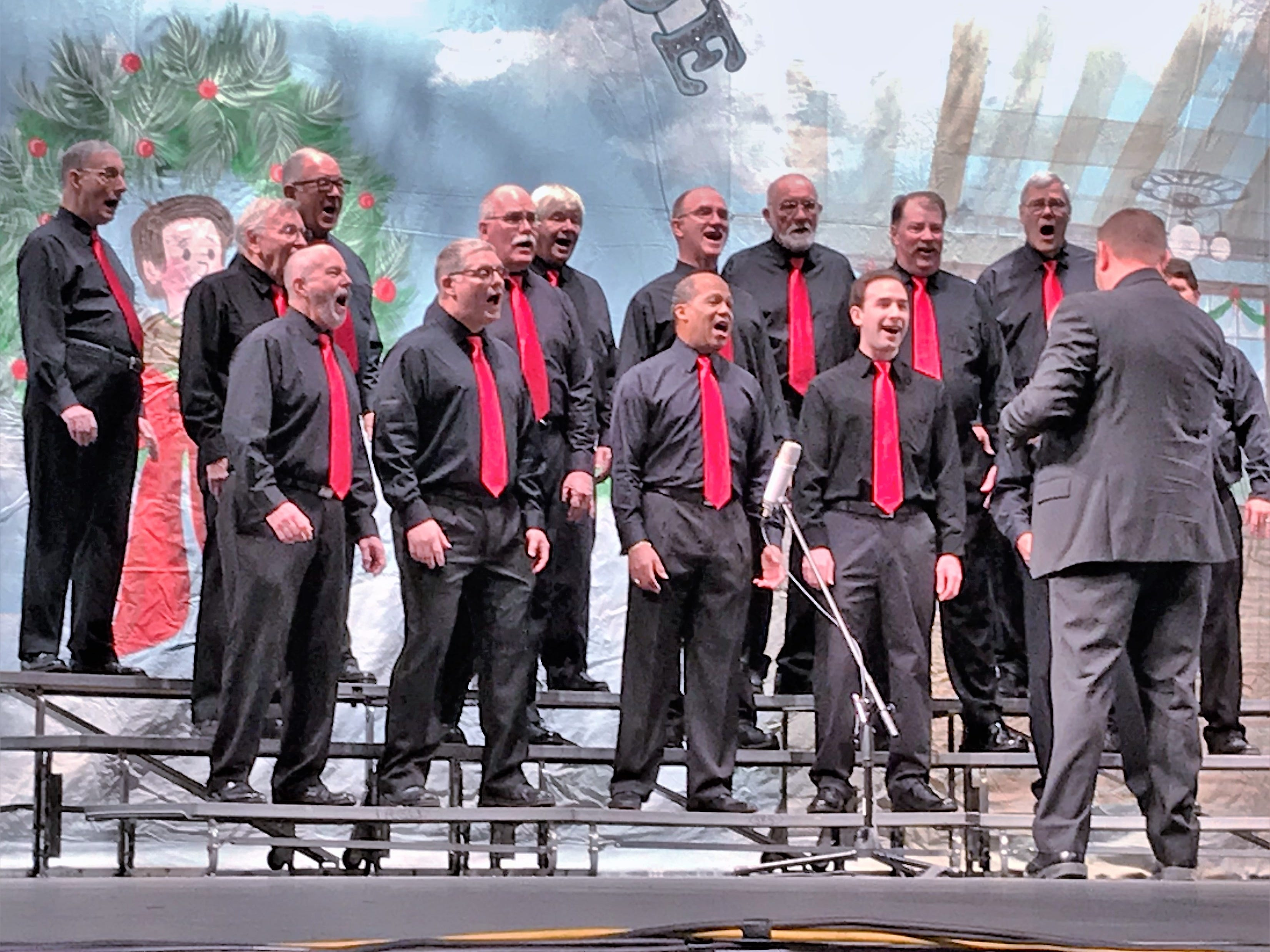 The Mark Twain Barbershop Chorus performs a number during Sunday's Arctic League broadcast.