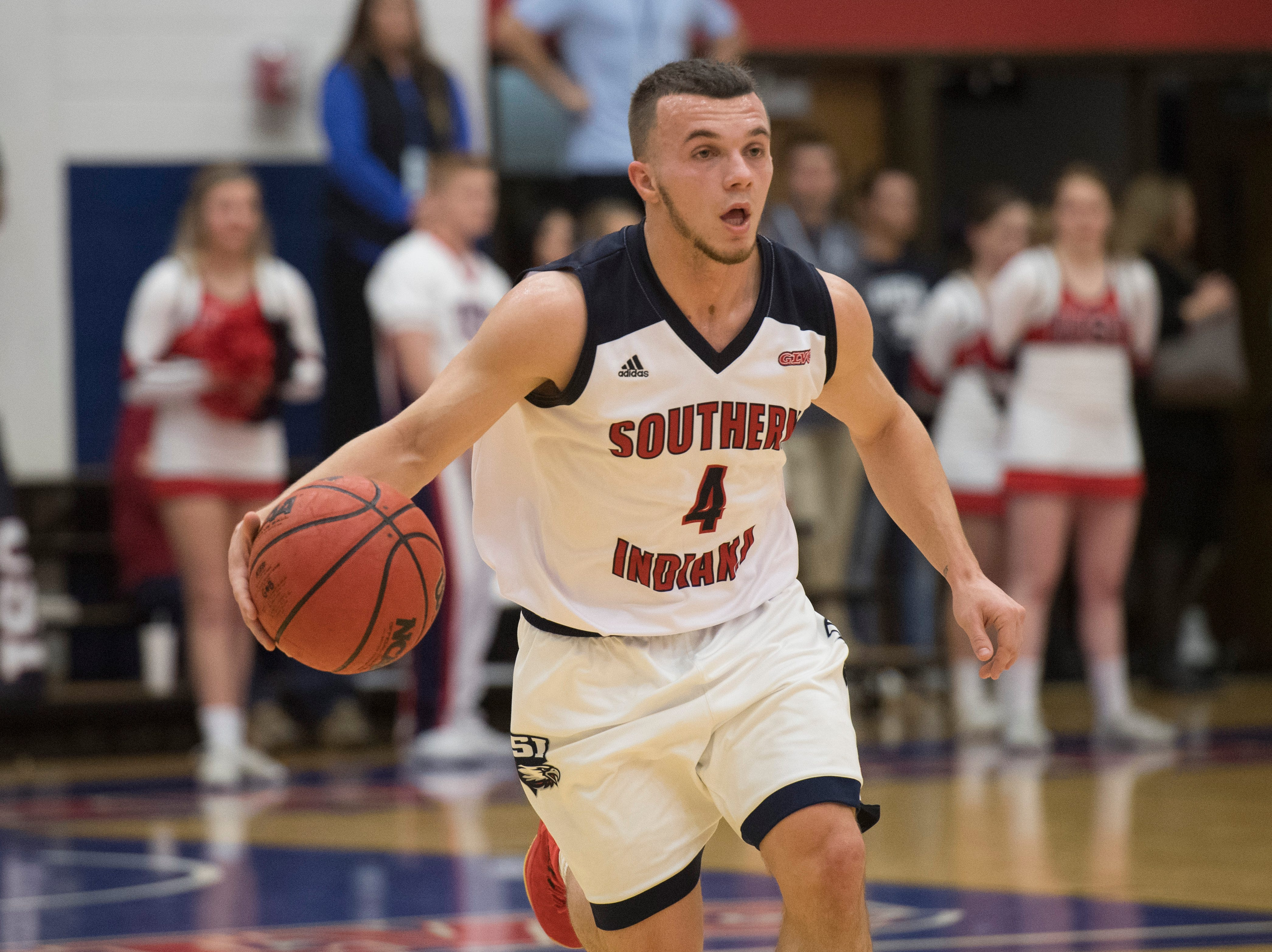 USI's Braden Fitzjerrells (4) yells out to teammates during the USI vs Bellarmine basketball game at the PAC Saturday, Dec. 1, 2018.
