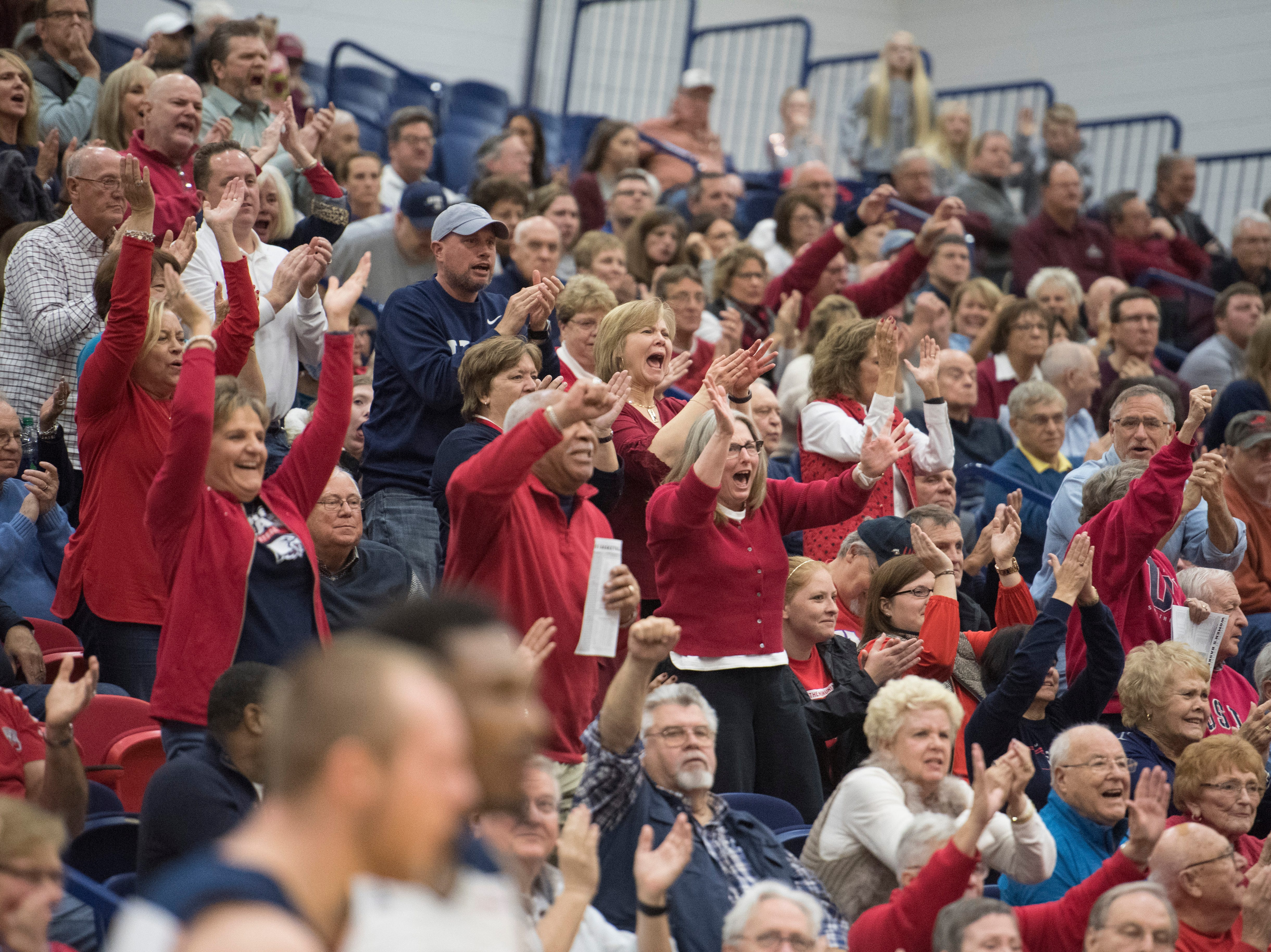 The crowd erupts in the final minutes of the USI vs Bellarmine game at the PAC Saturday, Dec. 1, 2018.