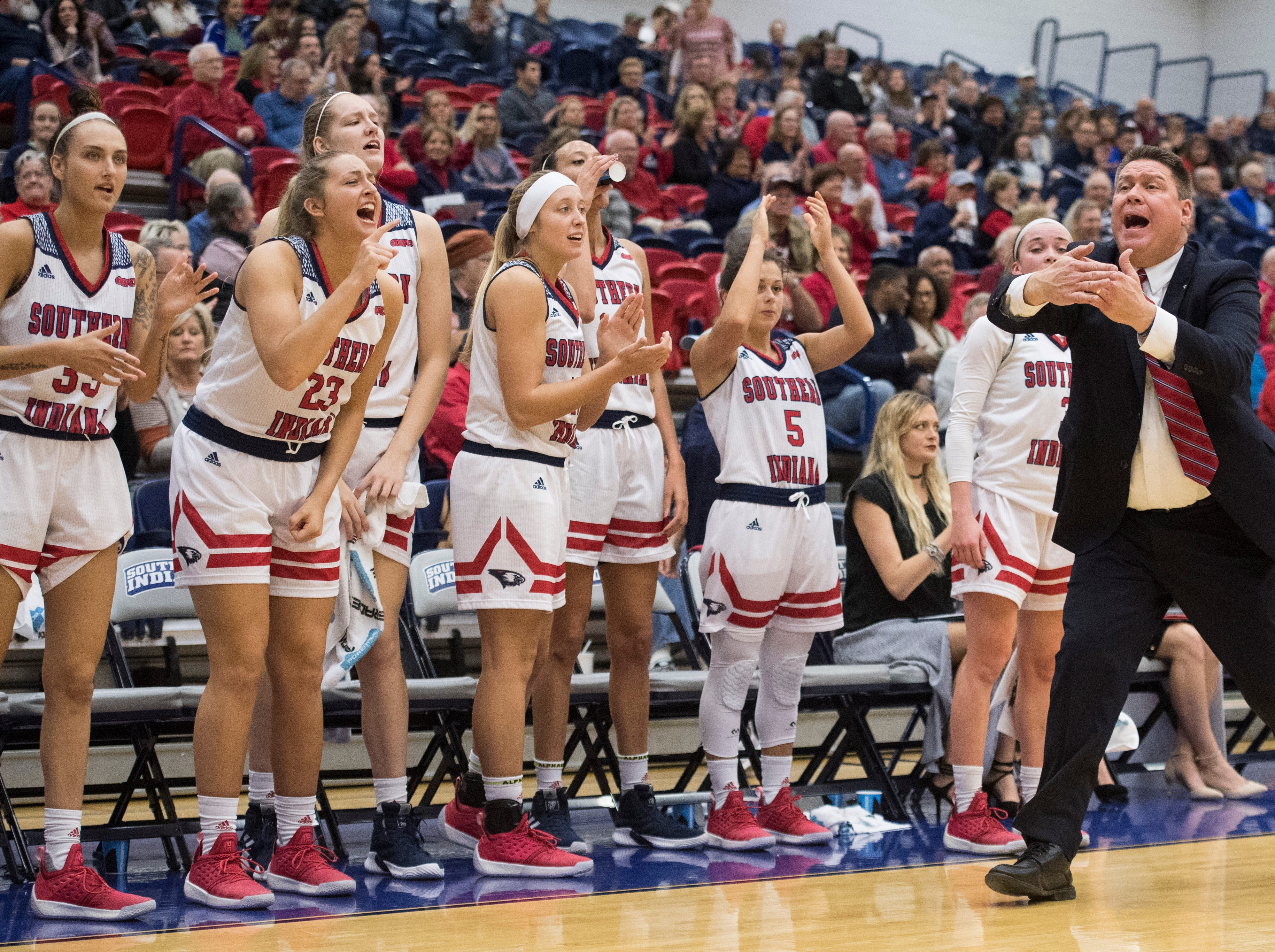 USI's Women's Basketball Head Coach Rick Stein calls a timeout during the USI vs Bellarmine game at the PAC Saturday, Dec. 1, 2018.